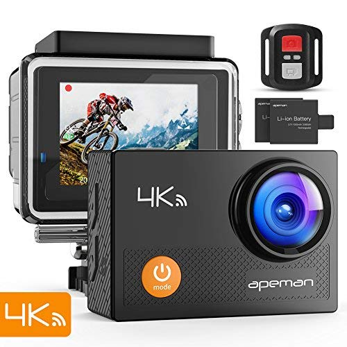 9. APEMAN Action Camera 4K WiFi 16MP Waterproof Underwater Camera Ultra Full HD Sport Cam, 20 Accessories Kits