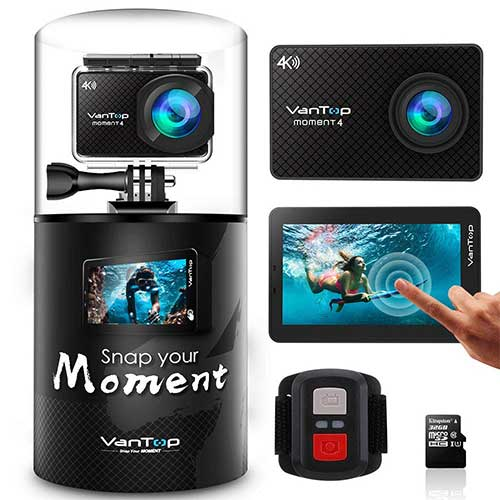 8. VanTop Moment 4 4K Sports Action Camera w/Touch Screen EIS 20MP Sony Sensor, Adjustable View Angle