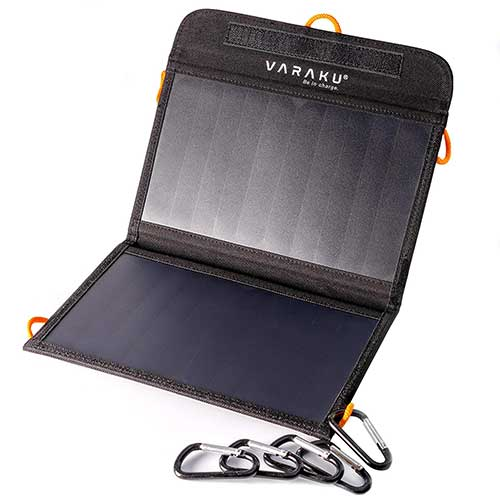 10. Portable Solar Charger 10W - Dual USB Solar Panel Foldable - Waterproof Sun Phone Charger for Camping & Hiking by VARAKU