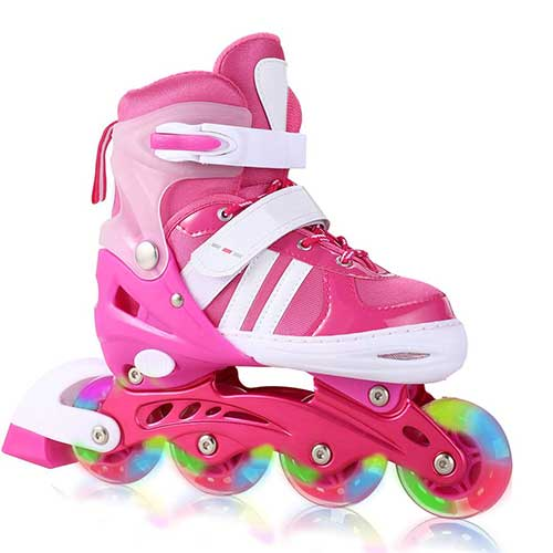 7. Aceshin Adjustable Inline Skates with Light up Wheels Beginner Roller Skates Fun Illuminating Roller Skates for Kids (US Stock)