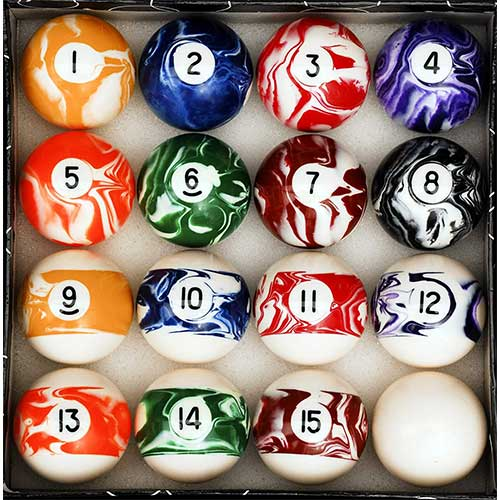 4. Iszy Billiards Pool Table Billiard Ball Set, Marble/Swirl Style