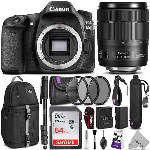 Best Cameras for Youtube Live Streaming 3. Canon EOS 80D DSLR Camera with EF-S 18-135mm f/3.5-5.6 is USM Lens w/Advanced Photo & Travel Bundle