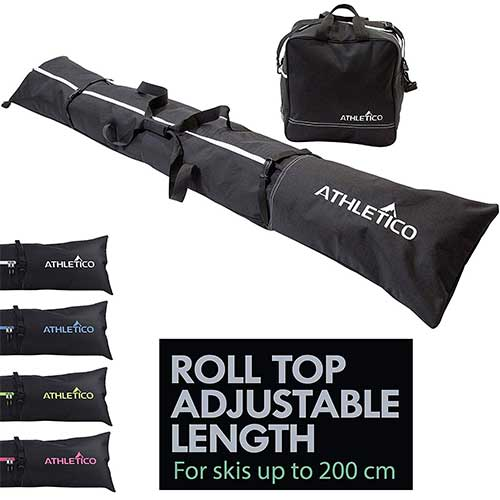 Best Ski Bags for Air Travel 4. Athletico Two-Piece Ski and Boot Bag Combo | Includes 1 Ski Bag & 1 Ski Boot Bag (Black)