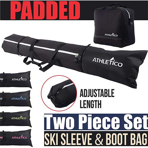 Best Ski Bags for Air Travel 2. Athletico Padded Two-Piece Ski and Boot Bag Combo Includes 1 Padded Ski Bag & 1 Padded Ski Boot Bag