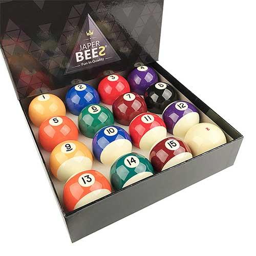 7. JAPER BEES Premium Professional Billiard Ball/Pool Ball Set,Complete 16balls, 2 1/4 inch Regulation Size&5.9OZ Weight, Resin Ball