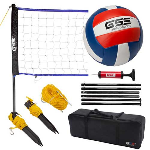 6. GSE Games & Sports Expert Portable Volleyball Set. Including Volleyball Net System and Volleyball with Pump
