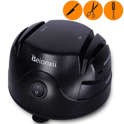 Best Scissor Sharpeners 4. Electric Knife Sharpener - Beionxii Professional 2-Stage Knife Sharpening System 3-in-1 Sharpener Machine Appliance Kit