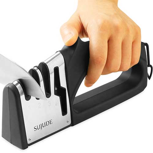 Best Scissor Sharpeners 3. SUJUDE Knife and Scissor Sharpeners, Scissor Sharpening Tool, 4 Stages Knife Sharpener with Diamond, Ceramic, Tungsten