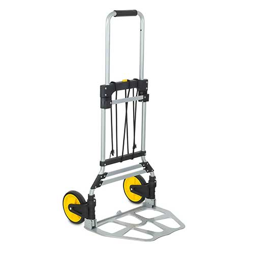 7. Mount-It! Folding Hand Truck and Dolly, 264 Lb Capacity Heavy-Duty Luggage Trolley Cart With Telescoping Handle and Rubber Wheels, Silver, Black, Yellow,