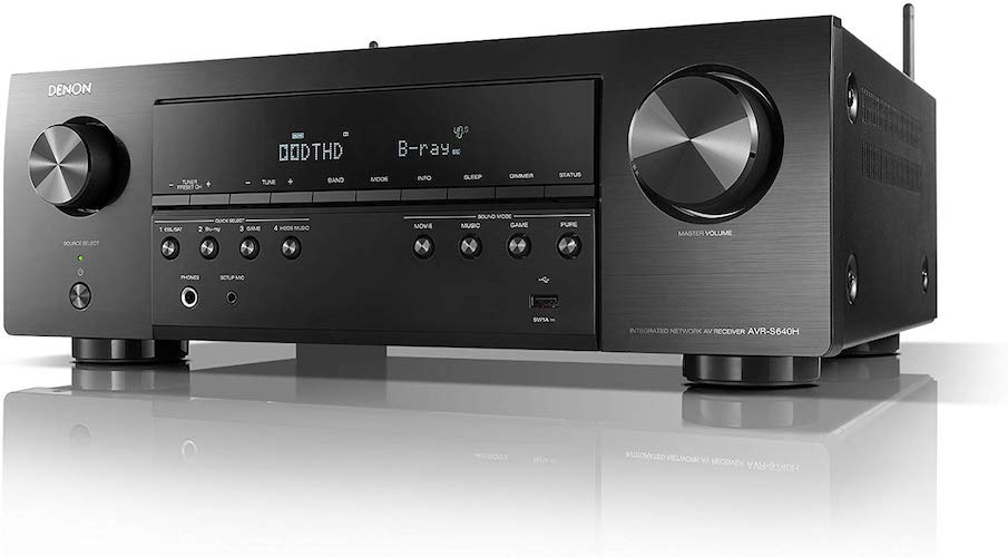 1. Denon AVR-S640H Audio Video Receiver - 5.2 Channel 4K Ultra HD Home Theater and Music Streaming System