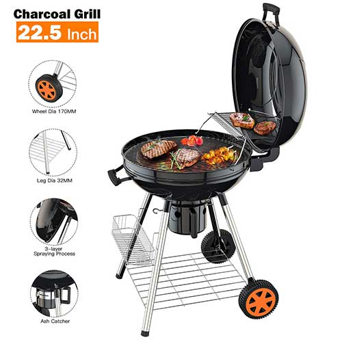 10. TACKLIFE Charcoal Grill, 22.5-Inch, BBQ Outdoor Picnic, Black