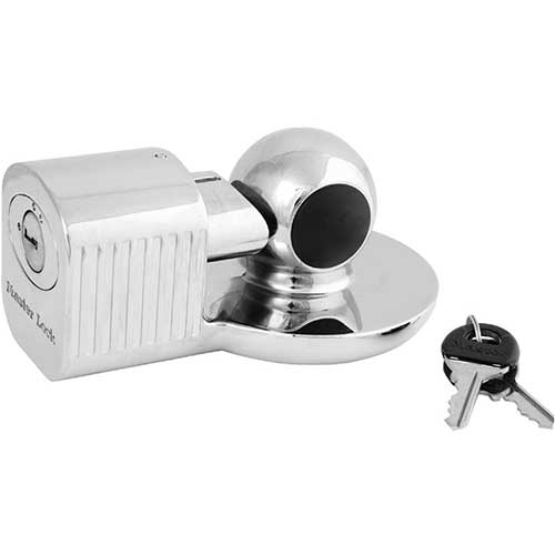 Best Trailer Hitch Locks 2. Master Lock 377KA Trailer Hitch Lock, Fits 1-7/8 in, 2 in, and Most 2-5/16 in. Trailer Couplers, Chrome