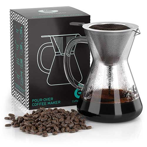 3. Coffee Gator Pour-over Brewer – Unlock More Flavor with a Paperless Stainless Steel Filter and Glass Carafe - Hand-Drip Coffee Maker - 14 Ounce