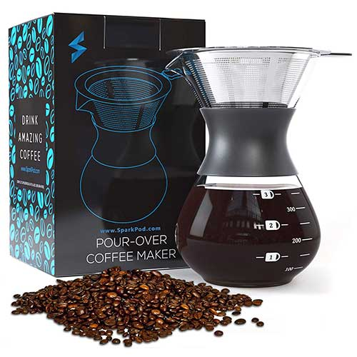 5. SparkPod Pour-over Coffee Maker w/Stainless Steel Paperless Filter - Ultra-Fine Micro-Mesh - One Cup Carafe Dripper - Kitchen, Office, and Travel - Creates Fresh, Bold Flavors