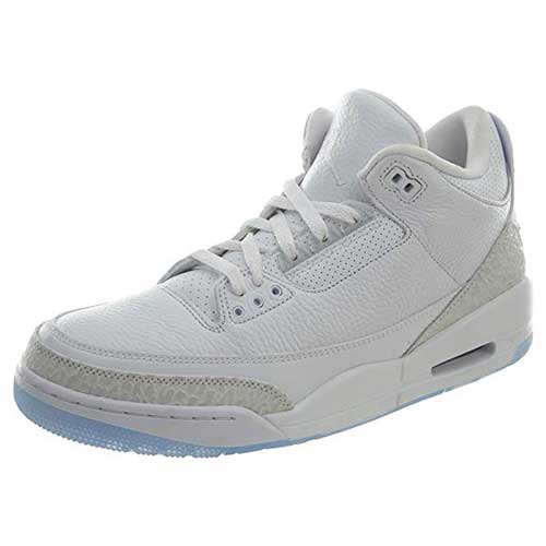 9. Jordan Nike Mens Air 3 Retro Powder White/Fire Red-Cement Grey Leather Basketball Shoes