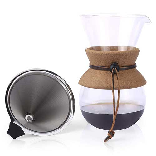 4. Apace Living Pour Over Coffee Maker - 2019 Edition - Elegant Coffee Dripper Brewer Pot w/Glass Carafe & Permanent Stainless Steel Filter (27 oz)