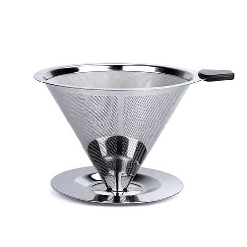 8. HouseHoo Pour Over Coffee Dripper, Pour Over Coffee Maker, Coffee Pour Over Set, Coffee Dripper with Cup Stand, Stainless Steel Reusable Drip Cone Coffee Filters, Portable Coffee Filter Brewer