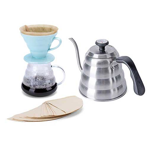 7. DEDAKJ Pour Over Coffee Maker Set – Includes Coffee Carafe Pour over Coffee Kettle with Thermometer (1.2L up to 40 oz.), V60 Paper Coffee Filter, Coffee Dripper and Glass Range Coffee Server