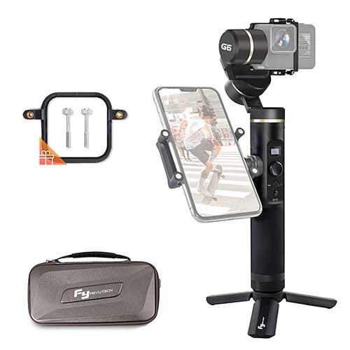 Best Gopro Gimbal Stabilizers 7. FeiyuTech Feiyu G6 3-Axis Splash-Proof Handheld Gimbal for GoPro Hero 6 5 4 3, Sony RX0, Yi 4K, AEE Action Camera