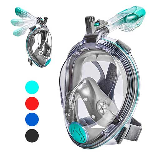 Best Full Face Snorkel Masks 6. VELLAA Snorkel Mask Full Face for Kids and Adults, Dry Top Set Anti-Fog Anti-Leak 180 Panoramic Large View Free Breath with Detachable Camera Mount, Adjustable Head Straps Foldable Snorkeling Mask