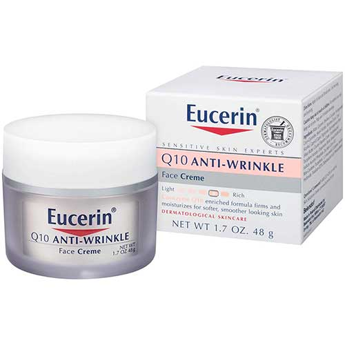 10. Eucerin Q10 Anti-Wrinkle Face Cream - Fragrance Free, Moisturizes for Softer Smoother Skin - 1.7 oz. Jar