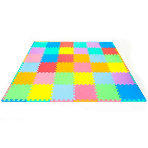 3. ProSource Puzzle Solid Foam Play Mat for Kids - 36 or 16 tiles with edges