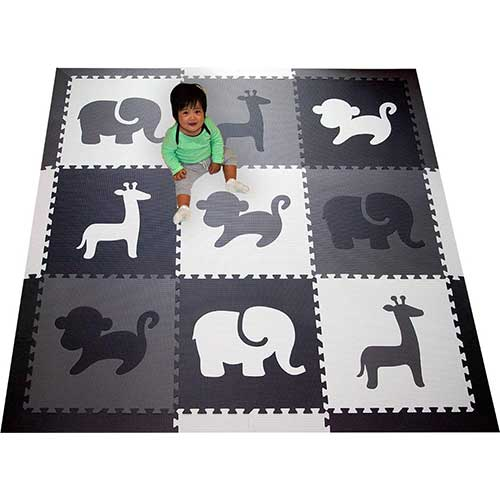 10. SoftTiles Kids Foam Play Mat - Safari Animals Theme- Nontoxic Puzzle Play Mats for Children's Playrooms or Baby Nursery SCSAFBGW