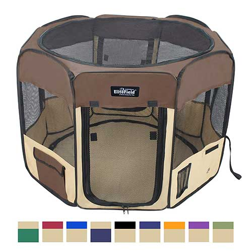 7. EliteField 2-Door Soft Pet Playpen, Exercise Pen, Multiple Sizes and Colors Available for Dogs, Cats and Other Pets