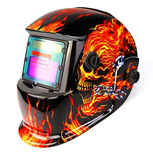 5. DEKOPRO Welding Helmet Solar Powered Auto Darkening Hood with Adjustable Shade Range 4/9-13 Skull Design