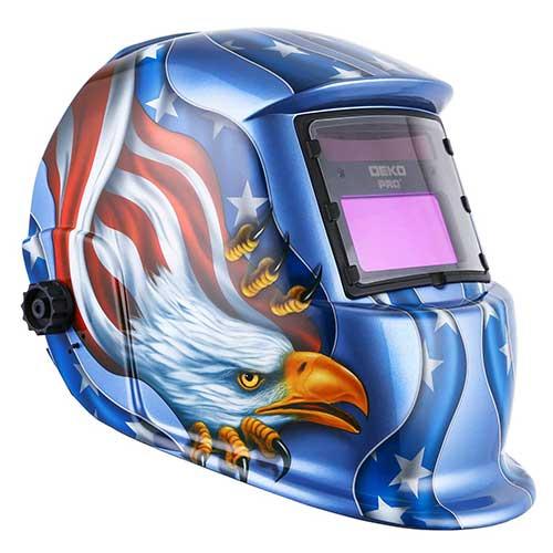 6. Solar Powered Welding Helmet Auto Darkening Hood with Adjustable Shade Range 4/9-13 by DEKOPRO