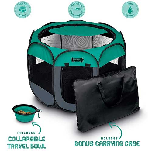 3. Ruff 'n Ruffus Portable Foldable Pet Playpen + Carrying Case & Collapsible Travel Bowl | Indoor / Outdoor use |