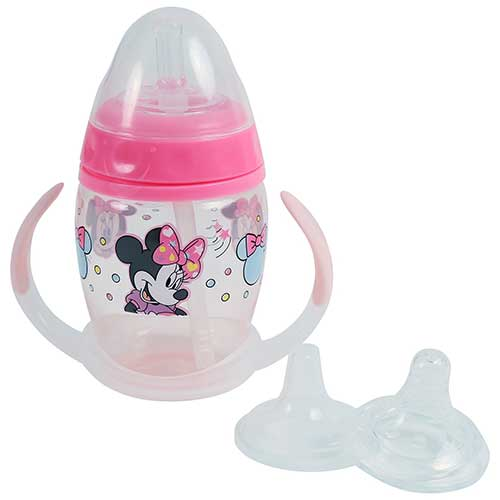 Best Sippy Cup for 6 Month Old Breastfed Baby 10. Disney Minnie Mouse 6 Piece Grow with Me Sippy Cup, Baby Pink
