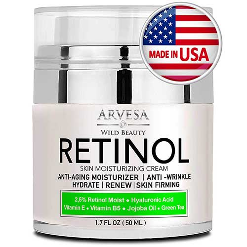 6. Natural Retinol Moisturizer Cream for Face and Eye Area - Made in USA - by Arvesa
