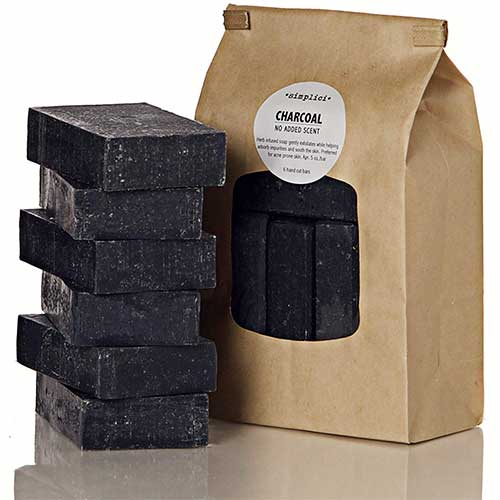 3. Simplici Activated Charcoal Unscented Bar Soap. Bulk 6 Pack. Palm Oil Free.