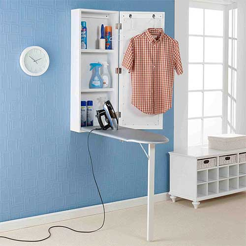 8. Upton Home Space-saving Wall-mounted White Finished Ironing Board