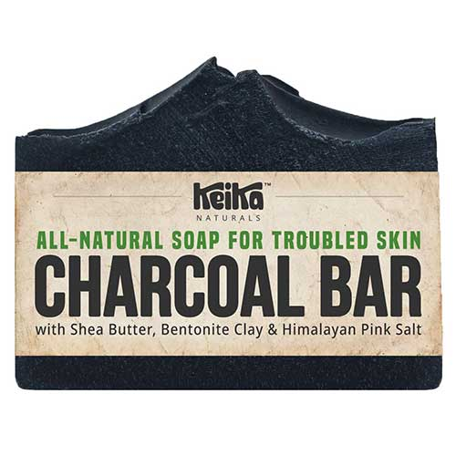 7. Charcoal Black Soap Bar with Shea Butter for Face, Acne, Blackheads, Eczema, Psoriasis | 100% All-Natural Vegan. Fragrance-Free. Non-GMO