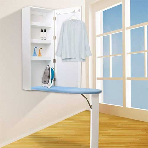 9. qotone Ironing Board Cabinet Wooden Wall Mounted Storage Shelves Foldable