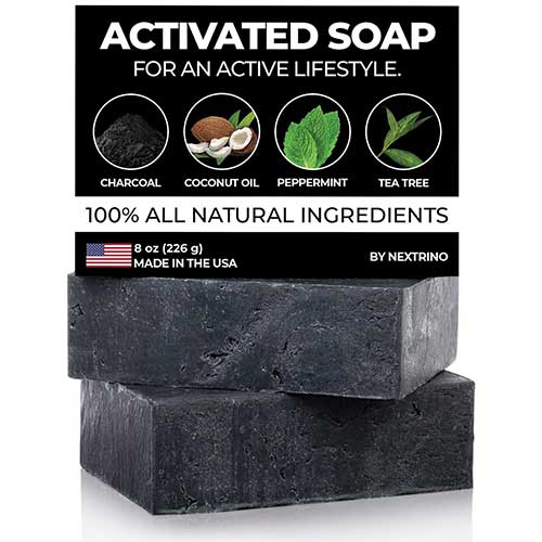 8. Activated Charcoal Tea Tree Soap - with Peppermint! Made in the USA: All Natural, Vegan Bar Soap with Organic Oils