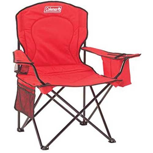 1. Coleman Portable Camping Quad Chair with 4-Can Cooler