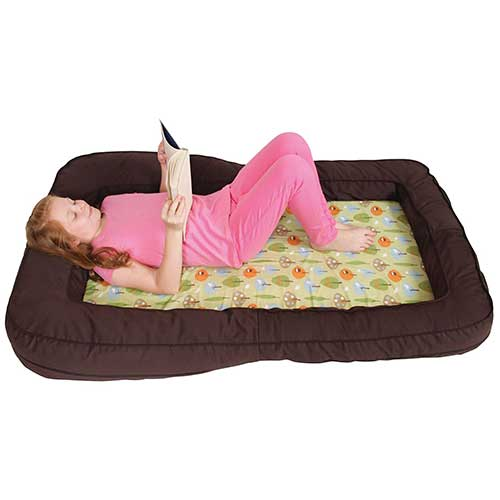 9. Leachco BumpZZZ Travel Bed, Brown/Green Forest Frolics