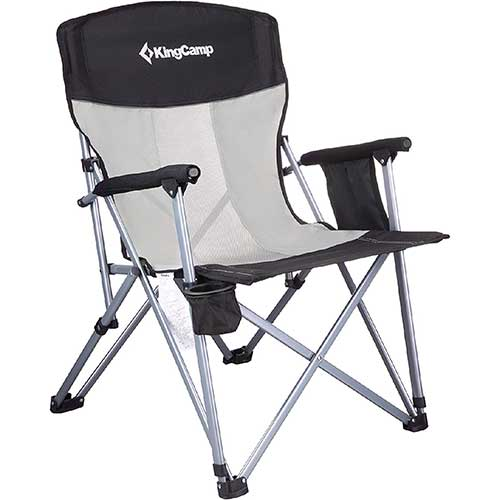 5. KingCamp Camping Chair Mesh High Back Ergonomic with Cup Holder Armrest Pocket