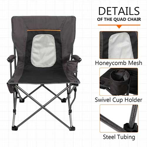 10. PORTAL Camping Chair Folding Portable Quad Mesh Back