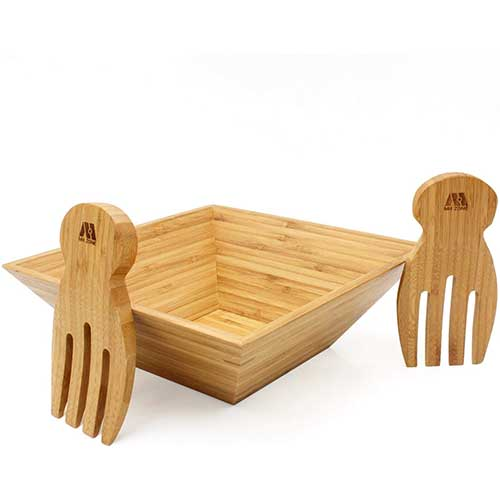 7. MH ZONE Bamboo Salad Bowl Set
