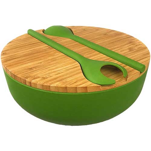 6. Bamboo Salad Serving Bowl Set