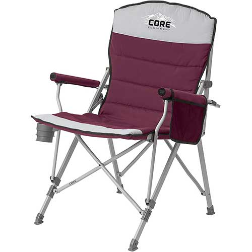 9. CORE Equipment Folding Padded Hard Arm Chair