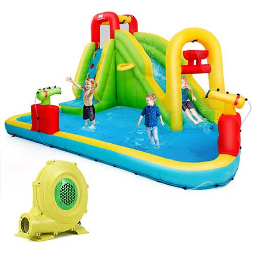 10. BOUNTECH Inflatable Bounce House, 7-In-1 Water Pool Slide w/ Climbing Wall