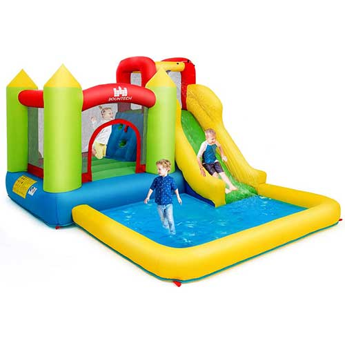 9. Costzon Inflatable Bounce House, Kids Water Slide with Climbing Wall