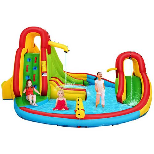 6. Costzon Inflatable Bounce House, 7 in 1 Mighty Pool Slide