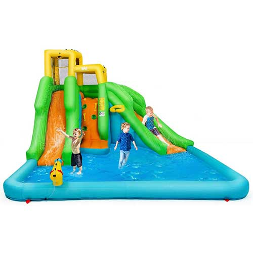 4. BOUNTECH Inflatable Bounce House, Mighty Water Pool with Two Slides