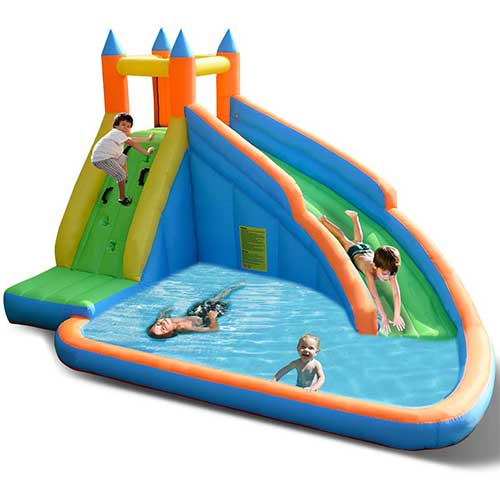 2. Costzon Inflatable Slide Bouncer, Water Pool with Long Slide